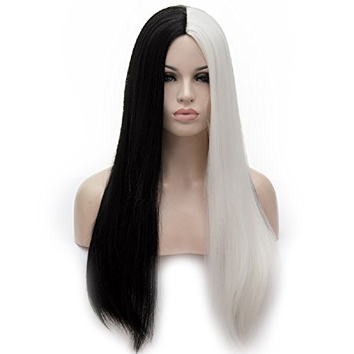 Women Cosplay Long Straight Wig Synthetic 2 Tone Heat Resistant Cosplay Costume Wig Half Black Half White Wig 28 Inch]()