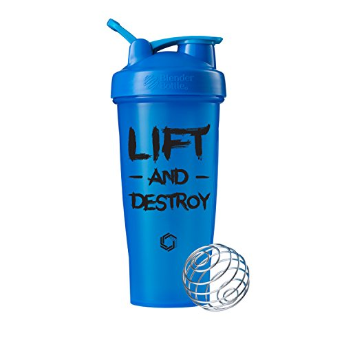 Lift and Destroy on BlenderBottle brand Classic shaker cup, 28oz Capacity, Includes BlenderBall whisk (Cyan - 28oz)