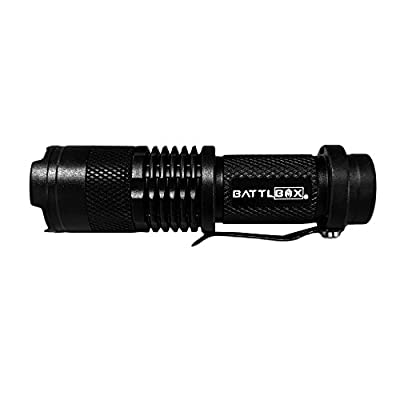 BATTLBOX Tactical Flashlight – Small, Compact and Light - Bright 100 Lumen CREE L.E.D. - Zoomable with Floodlight or Spotlight - 3 Lighting Modes - High, Low and Strobe