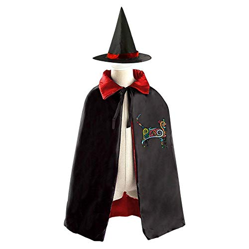 Halloween Costume Children Cloak Cape Wizard Hat Cosplay Cat Silhouette With Colorful Swirls For Kids Boys Girls ()