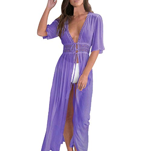 - FAPIZI Women Summer Hollow Transparent Casual Deep V Loose Side Slit Bodycon Cardigan Ankle-Length Dress Purple