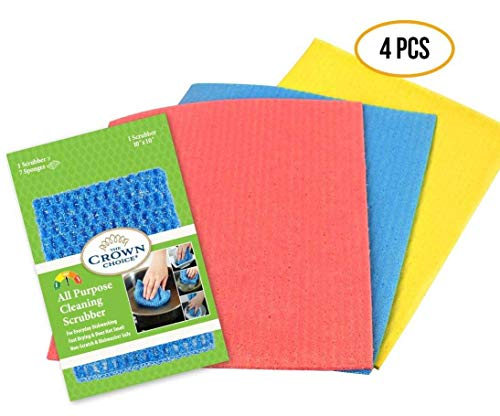 NO Odor Sponge Cloth and All Purpose Scrubber Dishcloth Set (4 PCs) | for Scrubbing, Wiping, Drying in Kitchen, Cleaning | Reusable Paper Towel Swedish Cellulose Clothes and Scrubber