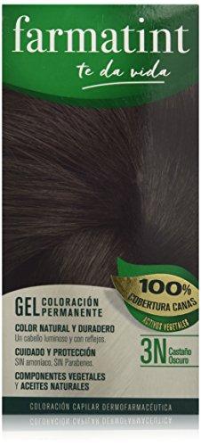 Farmatint Gel 3N Castano Oscuro | Color natural y duradero | Componentes vegetales y aceites naturales | Sin amoniaco | Sin parabenos | Dermatologicamente testado