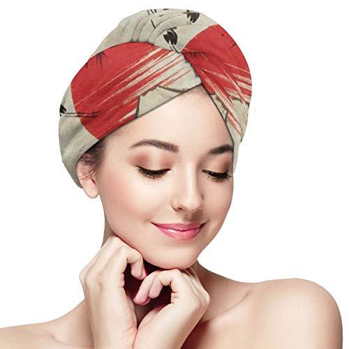(Hair Towel Wrap Turban Landscape Pine Branch Mountain Fuji Sun Microfiber Hair Drying Cap with Buttons for Women )