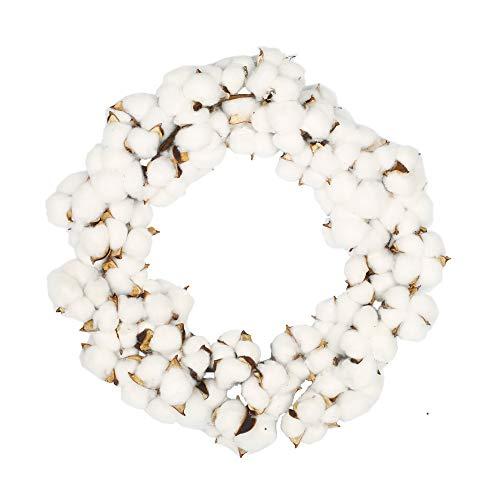 VGIA 16 Inch Real Cotton Wreath Farmhouse Decor Christmas Vintage Wreath - Adjustable Stems ()