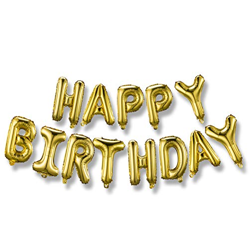 Happy Birthday Balloons Banner (3D Gold Lettering) Mylar Foil Letters | Inflatable Party Decor and Event Decorations for Kids and Adults | Reusable, Ecofriendly -