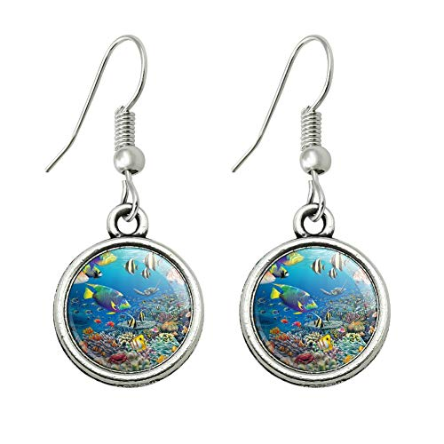 GRAPHICS & MORE Ocean Coral Reef Angel Fish Garden Diving Novelty Dangling Drop Charm Earrings