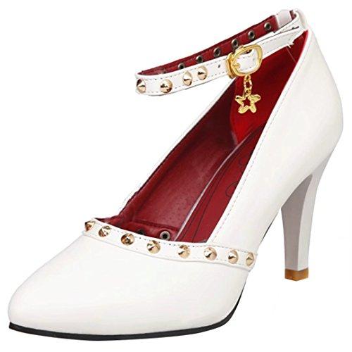 AIYOUMEI Damen Stilettos High Heels Knöchelriemchen Pumps mit Nieten Abendschuhe weiß#1