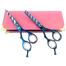 """Professional Left Hand Hairdressing Hair Scissors Shears Lefty Blue Titanium Blue Stripes 5.5"""" Japanese Steel with 30 Days Retuen Policy + Free Case"""