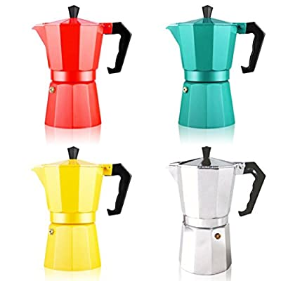 Espresso Maker, HOOHI 240 ML Aluminum Moka Express Stovetop Espresso Maker Pot Coffee Machine + 1 Coffee Scoop, 4 Cup