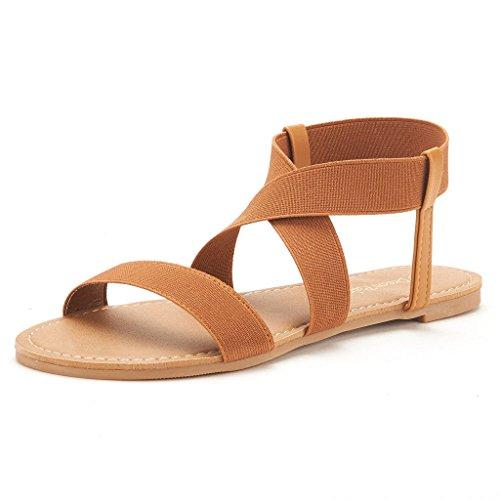 7424420f516d DREAM PAIRS ELASTICA Women Summer Fashion Design Open -Toe Elastic Ankle  Strap Gladiator Flat Sandals