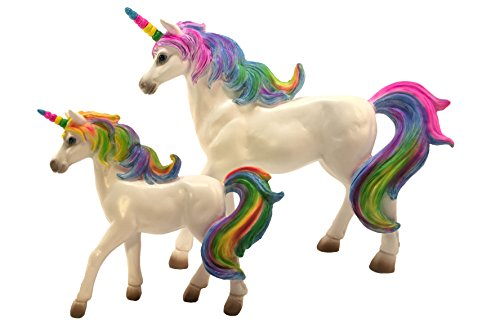 GlitZGlam Rainbow Unicorn Set: Mother Unicorn (Alana) and Daughter Unicorn (Penelope) Miniatures Unicorn Figurines for Your Fairy Garden