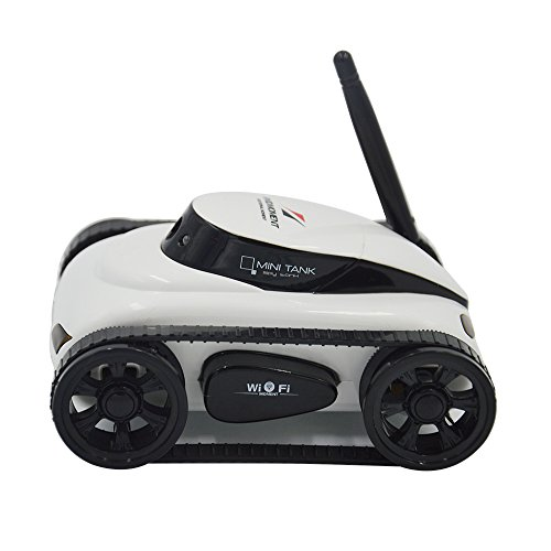 Spy Video Car (A-Parts Mini RC I Spy Remote Control Tank Car with 0.3 MP Video Camera and 777-270 Wi-Fi, White)
