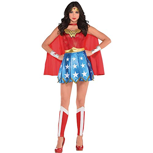 Costumes USA Wonder Woman Costume for Adults, Size Large, Includes a Dress, a Headband, Gauntlets, a Cape, and -