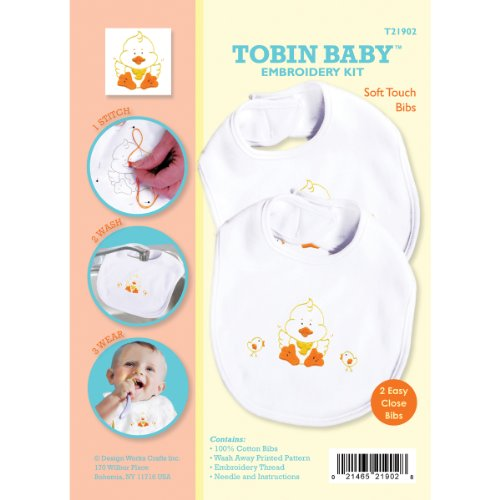 Tobin Baby Duck Soft Touch Bibs Embroidery Kit, Set of 2 Set Needlepoint Kit
