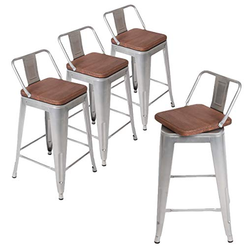 Andeworld Set of 4 Swivel Counter Height Bar Stools Industrial Metal Bar Stools Indoor-Outdoor (Low Back Sliver with Wooden Top, Swivel 24 Inch)