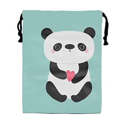 Kawaii Panda Baby Bear Cute Cartoon Drawstring Bags Party Favors Bags(1 Pack), Personalised Birthday Fabric Party Goodie Bag Gift for Kids Boys & -