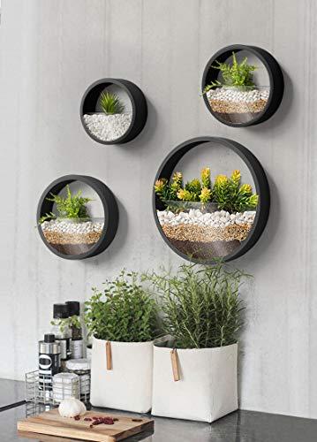 KnikGlass Murale Planteur Ensemble de 4 pièces Vase à Fleurs jardinières murales en métal Ronds Pot de planters Pot de…