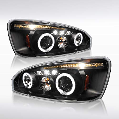 Projector Headlights Malibu - Autozensation For Chevy Malibu Dual Halo LED Projector Headlight Black Head Lamps Pair