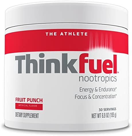 Thinkfuel Nootropic Pre Workout Powder for Athletes – Dopamine Stack to Boost Mental Performance, Energy Levels and Endurance. w DMAE, Creatine, Beta-Alanine, and Caffeine. Fruit Punch, 30 Servings