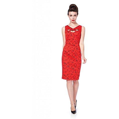 Womens-Voodoo-Vixen-Spectacles-Pencil-Dress-Red