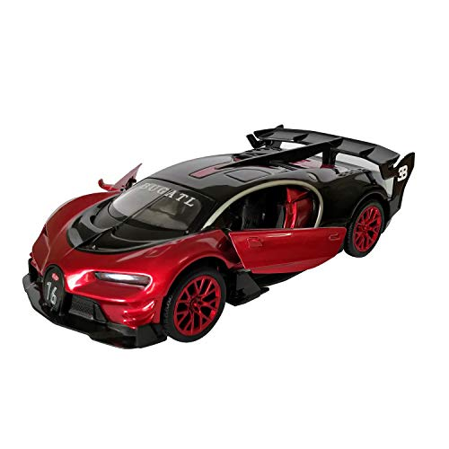 (LMOY 1:32 Bugatti Chiron Vision Grand Turismo (GT) Zinc Alloy Pull Back Diecast Toy car Model Collection with Light & Sound(red))