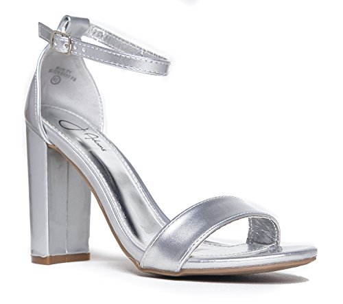 Strappy Chunky Block High Heel, Silver Metallic PU, 7 B(M) US