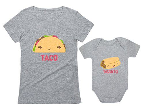 Taco & Taquito Baby Bodysuit & Women's T-Shirt Set Mommy & Me Matching Outfit Taco Gray Medium/Taquito Gray 18M (12-18M)