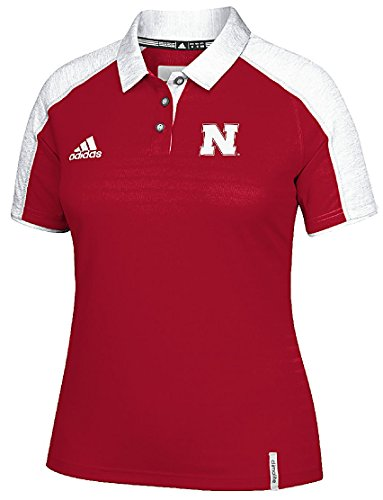 adidas Women's Nebraska Cornhuskers Red 2016 Sideline Climalite Polo Shirt (Large) (Adidas Polo Sideline Shirt)