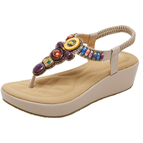 Mordenmiss Women's Rhinestone Bohemian Sandals T-Strap Beaded Thong Wedges Style 1 42 Apricot