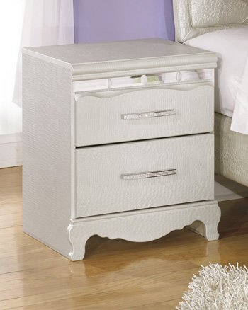 Ashley Furniture Signature Design - Zarollina Nightstand - 2 Drawers - Faux Crystal Accent Handles - Casual Kids Room - Silver by Signature Design by Ashley