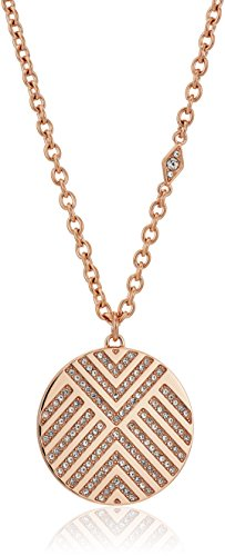 Fossil Pendant Rose (Fossil Chevron Glitz Rose Gold Pendant Necklace)