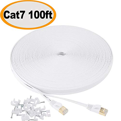 Jadaol Cat 7 Ethernet Cable 100 ft Shielded, Solid Flat Internet Network Computer patch cord, faster than Cat5e/cat6 network, Slim Long durable High Speed RJ45 Lan Wire for Router, Modem, Xbox - White