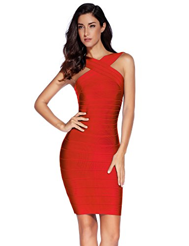 Meilun Women's Rayon Front Cross Cocktail Bandage Bodycon dress Medium Red