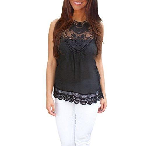 LHWY Femmes Summer Vest Top manches débardeurs en dentelle Casual (XL)