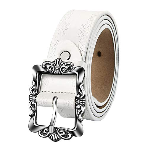 LUXUR Women Embossed Leather Belts Vintage Silver Buckle Fashion Genuine Premium Leather Belts for Pants or Dresses White-S