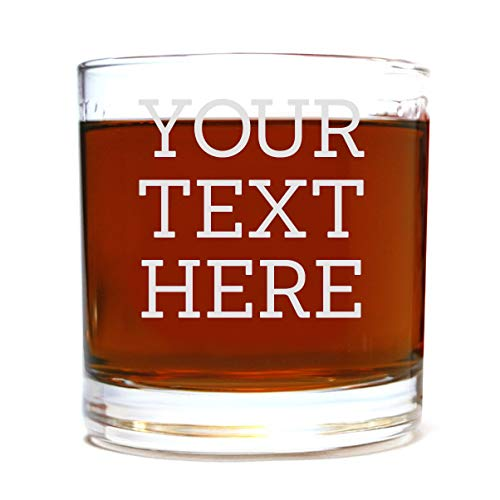 Personalized Etched Custom Message Whiskey Rocks Lowball Glass