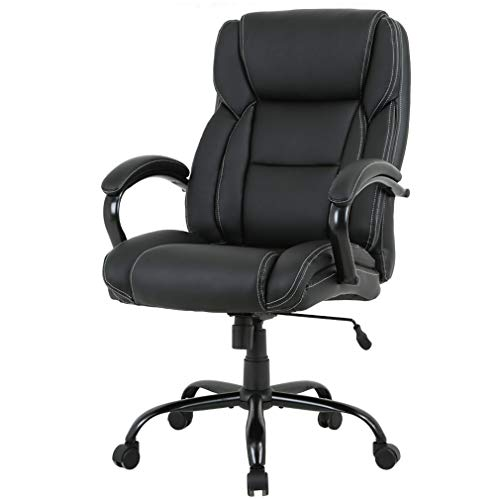High-Back Big and Tall 500lb Home Office Chair,Ergonomic PU Executive Chair with Lumbar Support Headrest Swivel Chair for Women, Men (Black) by FDW (Image #7)