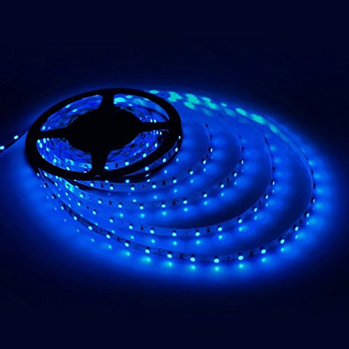Price comparison product image GEREE Blue Led Strip Lights SMD 3528 16.4 Ft (5M) 300 Leds Flexible Rope Lighting Waterproof Tape Lights in DC Jack for Boats, Bathroom, Mirror, Ceiling and Outdoor - No Power Supply