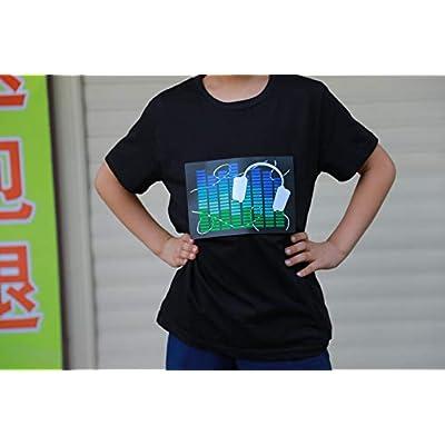 DINIRUKY Kids LED Flashing Shirt Sound Activated Black T Shirt Gift for Birthday Halloween Chiristmas Nightshow Wear: Clothing