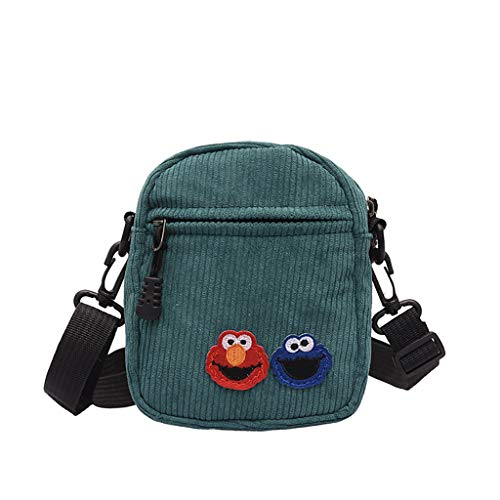 Wulofs Summer 2019 Women Canvas Sesame Street Versatile Fashion Messenger Bag Shoulder Bag (Green)