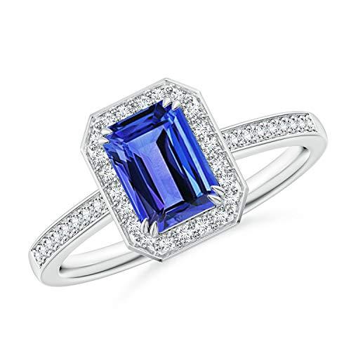Emerald-Cut Tanzanite Engagement Ring with Diamond Halo in 14K White Gold (7x5mm - Emerald Wg Cut Diamond 14k