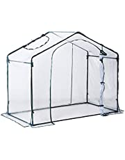 Outsunny 6 x 3.5 x 5ft Portable Garden Greenhouse Mini Flower Plant Growing Tent Outdoor Warm House Transparent PVC Tunnel Shed