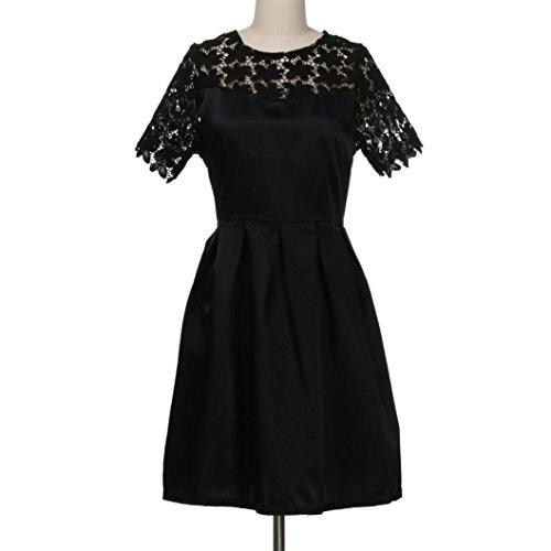 54c8269fad9b88 ... Vintage Minikleid Elegant Damen, ZIYOU Mode Rückenfreie Spitzenkleider  Patchwork Ballon Kleider Cocktailkleider für Frauen Schwarz ...