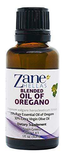 Zane Hellas Pure Greek Essential Oil of Oregano with 86 Percent Minimum Carvacrol, 70% Oil of Oregano – 30% Extra Virgin Olive Oil. 1 fl. oz. 30 ml. Carvacrol per Serving 90 mg. Super 70. Review