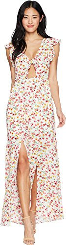 Jack by BB Dakota Junior's Brylee Floral Printed Maxi Dress, Cloud White, Large ()