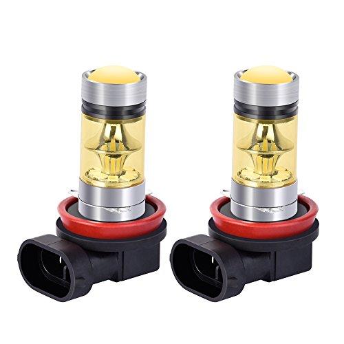 Catinbow LED Fog Light Bulbs H11 (H8, H9) 3000K Yellow High Power 100W Auto Fog Light Bulb Replacement 2323 SMD LED Bulbs for Fog light DRL 1800LM - 2 Pcs