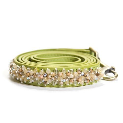 Dosha Dog Yellow Jade and Picture Jasper Beaded Green Large Leash