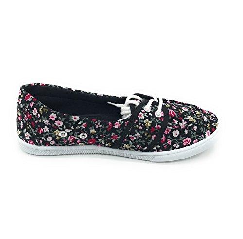 Blue Berry EASY21 Damen Canvas Round Toe Slip auf flachen Sneaker Oxford Bootsschuh Schwarz Blumen