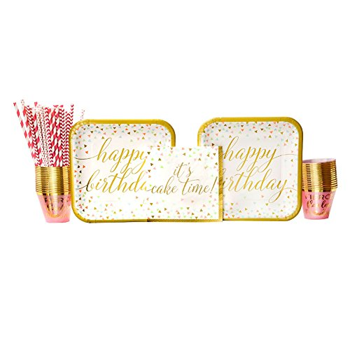 Confetti Fun Birthday Party Supplies Pack for 18 Guests: Straws, Dinner Plates, Luncheon Napkins, and Cups (Fun Confetti)